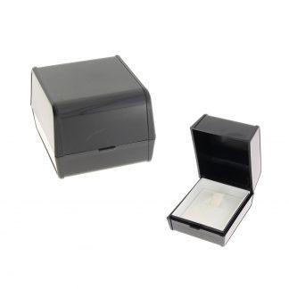 Пластиковый футляр серия Сибер гофрированный под кольцо вкладка поролон+крышка с вкладышем ткань 00SGN ATAC