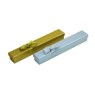 Футляр картонный подарочный с лентой (узкий под браслет) 90605