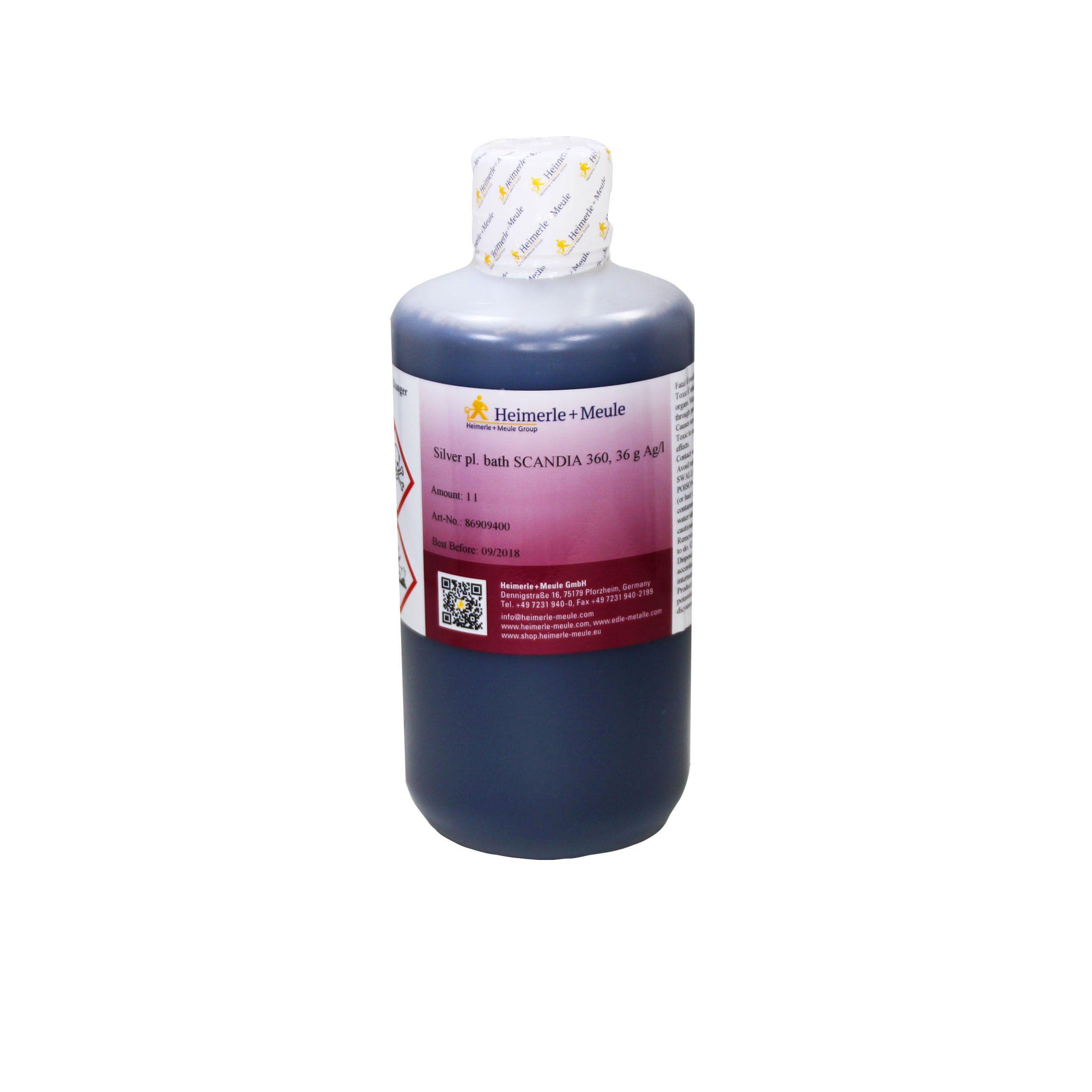 Электролит серебрения д/ванн, яркий SCANDIA 360, 36 г. Ag/1 л., Н+М
