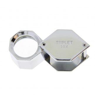 Лупа 10х 18 мм никелированная (шестигранная)