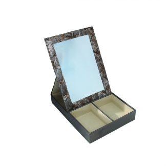 Шкатулка для хранения украшений с зеркалом (бронза, кож/зам) 200х270х50